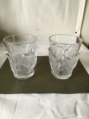 Pair Of Lalique Chene Oak Leaf Whiskey Glasses - One A/f • 34.99£