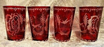 Bohemian Made In Germany U.s.zone Red Cut Over Clear Crystal Juice Tumblers • 21.89£