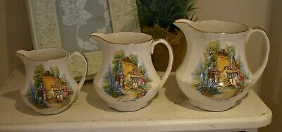 Vintage Set Of 3 Jugs Graduated Size J Fryer English Country Cottage (refE12) • 9.95£