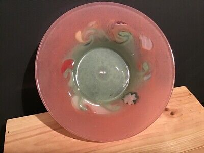 Vasart Glass Bowl Cloudy Green And Pink With Swirls And Murrine • 25£