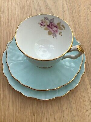Aynsley Crocus Blue Trio Cup, Saucer And Side Plate • 22£