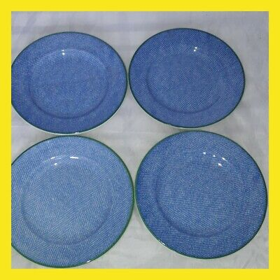 Royal Wessex Denim Pattern Country Picnic Side Plate X4 Blue Green Rim • 19£