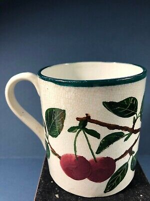 Antique Wemyss Ware Pottery Mug With Cherries Pattern - Impressed Marks • 14.95£