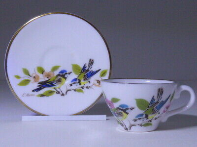 Caverswall China Blue Tit Birds Hand Painted By C Nunn Miniature Cup & Saucer  • 9.99£