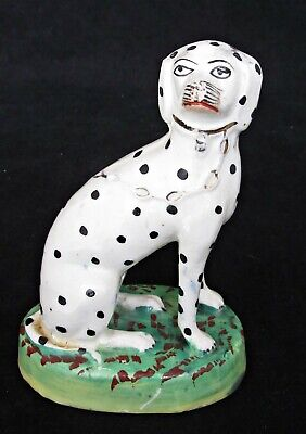 Antique Victorian Staffordshire Dog, Dalmatian, Spotty Dog Hand-painted 4 3/4  H • 19.95£