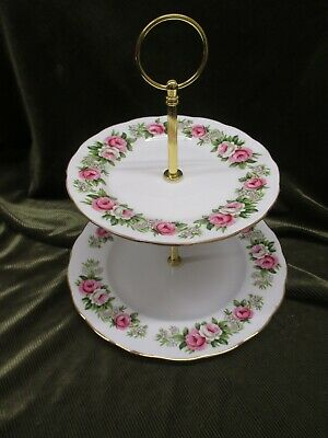 Pretty Vintage Colclough China Plated 2 Tier Cake Stand Enchantment • 16.50£