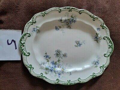 China Plate Green/blue Flowers Oval • 1£
