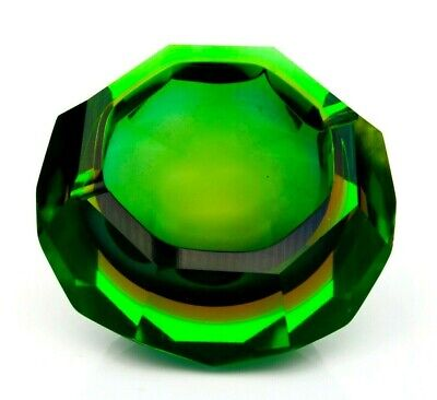 Hard To Find 1960s Murano Glowing Uranium Faceted Space Age Bowl Campanella • 16£