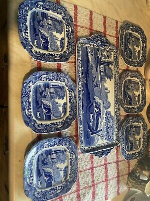 Vintage Copeland Spode Blue Italian Set - 6 X Sandwich Plates And Serving Plate • 30£