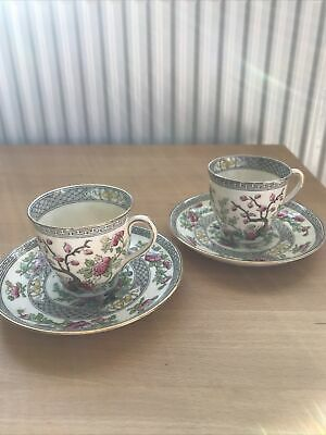 Two Vintage Aynsley Coffee/Tea Cups And Saucers Indian Tree Pattern • 4.80£