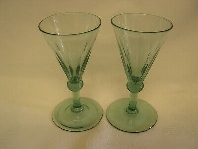 Pair Green Georgian Conical Wine Glasses - Panel Cut Bowls And Knop Stem C1820 • 25£