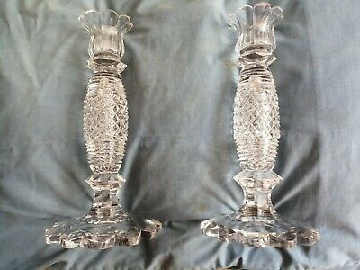 Pair Of Heavily Cut Glass Candlesticks Circa 1810 • 50£