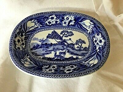 Antique Wedgwood Blue & White Transfer Ware Miniature Dish ~ Fallow Deer Pattern • 5£