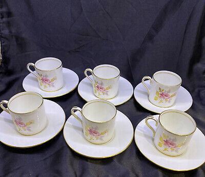 6 Vintage Aynsley Gold And Pink Cabbage Rose Bone China Coffee Cups • 35£