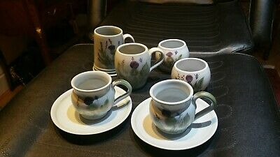 Collection 8 Buchan Portabello Thistle 2 Cups 2 Saucers Mug Tankard 2 Bowls  • 12.99£