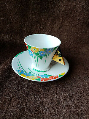 Shelley Art Deco Butterfly Handle Mode Cup & Saucer C.1930-1932 • 265£