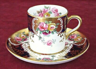 Fine Aynsley Bone China Coffee Can / Cup & Saucer, Hand Enamelled Roses, Gilding • 29.95£