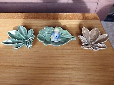 3 Irish Wade Leaf Dishes With Pot Of Gold Lucky Leprechaun Pixie Elf Figure • 9.50£