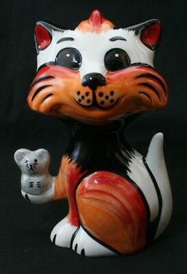 Superb Lorna Bailey Signed Cat Figure #2 - Holding Mouse 5 1/2  In Height • 6.80£