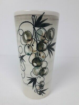 Jersey Pottery Hand Painted Vintage Vase With Grapes. • 9.50£