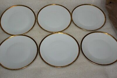 Six Rosenthal 7.5 Inch Plate - White With Gold & Black Band  • 19.99£