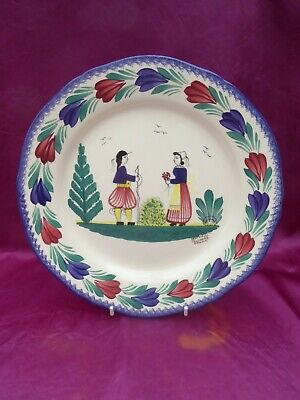 25cm HB Henriot Quimper Display Plate F.6 D201 DG Traditional Couple • 2£