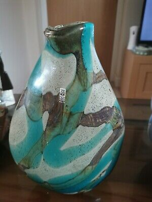 Mdina Glass Vase Tiger Signed • 30£