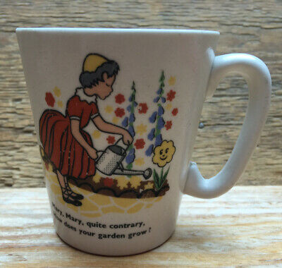 Vintage Childrens China Cup/Nursery Rhyme/Mary Mary Quite Contrary/Mid Century • 18£