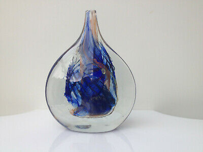 Vintage Michael Harris Isle Of Wight Glass Vase Blue Terracotta 1970s  • 135£