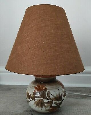 VINTAGE JERSEY POTTERY  Table Lamp Base Ceramic And Matching Shade In Gold • 32.99£