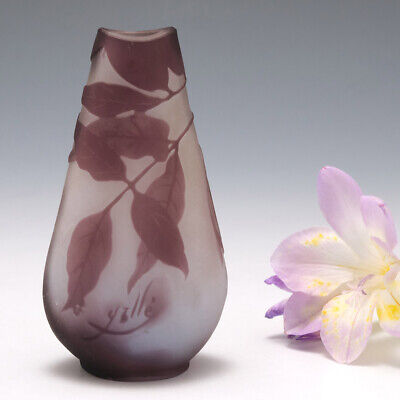 A Galle Cameo Glass Bottle Vase C1910 • 265£