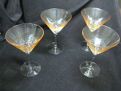 4 Pier 1 Crackle Amber Crackle (Golden Luster) Martini Glasses • 48.58£
