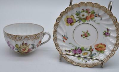 Antique 19thC Dresden Cup And Saucer - Hand Painted - Very Pretty • 13£