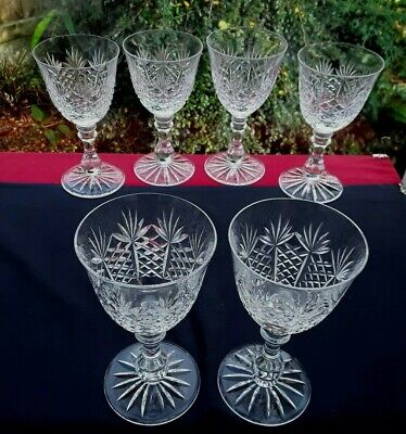 6 Thomas Webb Crystal Wine Glasses Goblets Fabulous Design And Sparkling Clarity • 28£