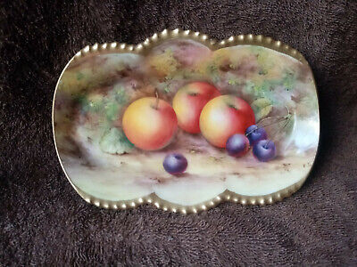 Royal Worcester Edward Townsend Gilded Fruit Painted Dish C.1941 • 195£