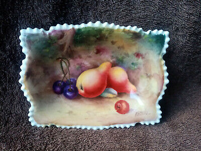 Unmarked Fruit Painted Dish By Royal Worcester Artist George Mosely C.1930's • 165£