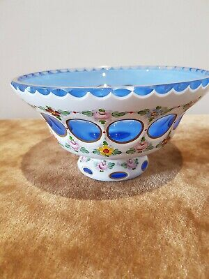Antique, Exquisite Glass Bowl. Blue/white With Flower Decoration. • 30£
