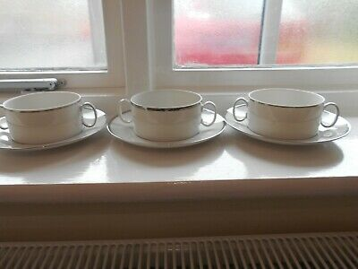 THOMAS OF GERMANY SOUP COUPES And SAUCERS X 3 Platinum Band • 12.99£