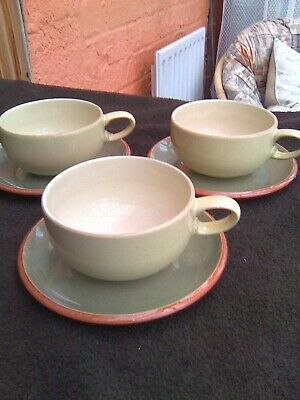 3 Denby Fire Chilli Yellow & Sage Cups & Saucers • 3.99£