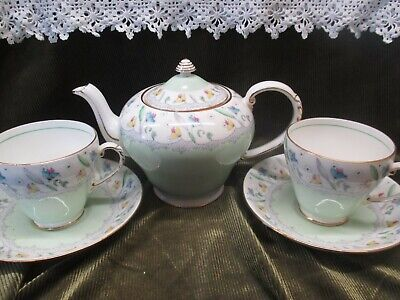 Lovely Vintage Royal Grafton  China Mint Green/floral Tea For Two Set • 35£