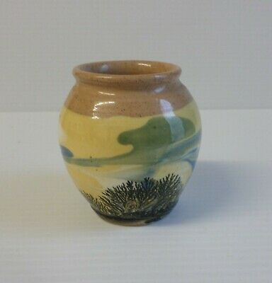 Boscastle Studio Pottery Cornwall - Irving Little - Small Pot In Yellows & Blues • 2.50£