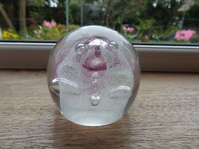 Caithness Glass Paperweight 'congratulations' Pink & White • 12£