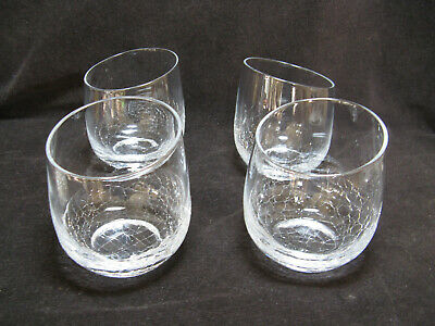 4 Pier 1 Angled Rim Crackle 4  Stemless Wine Flat Tumbler Old Fashioned  • 63.52£