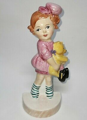 Carlton China Ware Mabel Lucie Attwell Flat Back Figurine Girl With Bear Modern  • 35£