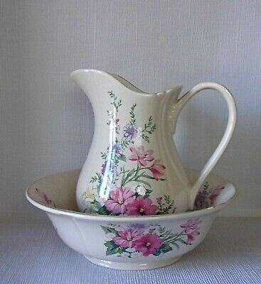 Royal Winton Large Water Jug & Bowl - Pink Floral Decoration Good Condition   • 19.95£
