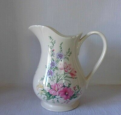 Royal Winton Large Water Jug - Pink Floral Decoration Good Condition   • 9.95£