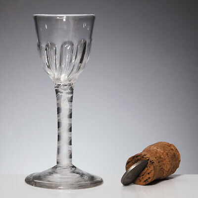 An Opaque Twist Wine Glass With Petal Moulded Bowl C1760 • 126£