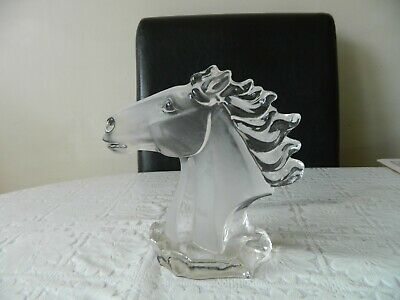 Vintage Crystal Clear Collectables CCC Glass Horse's Head Ornament Figurine • 35.99£