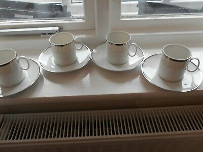 THOMAS OF GERMANY COFFEE  CANS/CUPS & SAUCERS - Platinum Band - X 4 • 12.99£