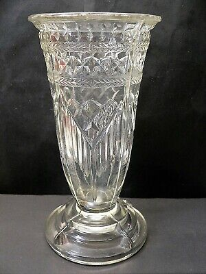 Bagley Claw Foot Vase - Stepped Base - 1900 Victorian Clear Pressed Glass • 9.99£